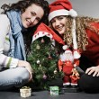 Royalty-Free Stock Photo: Two smiley girls celebrating christmas