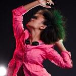 Alluring deejay dancing — Stock Photo