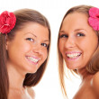 Happy tanned girls — Stock Photo