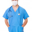 Doctor in mask and blue uniform — Stock Photo