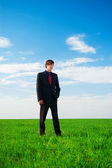 Serious businessman standing at the grass — Stock Photo