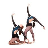 Two beautiful gymnasts — Stock Photo