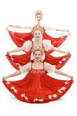 Three russian beauties standing like christmas tree — Stock Photo