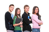 Four smiley students — Stock Photo