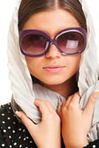 Closeup portrait of attractive woman in sunglasses — Stock Photo