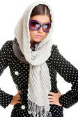 Glamor woman in headscarf — Stock Photo