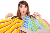 Funny girl with shopping bags — Stock Photo