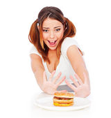 Portrait of emotional woman with burger — Stock Photo