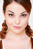 Pretty girl with two pigtails — Stock Photo