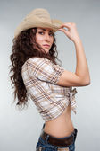 Sexy cowgirl in hat — Stock Photo