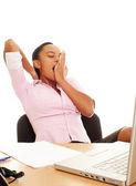 Businesswoman yawning — Stock Photo