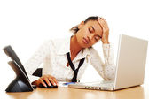 Fatigued businesswoman — Stock Photo