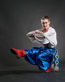 Young cossack dancing — Stock Photo