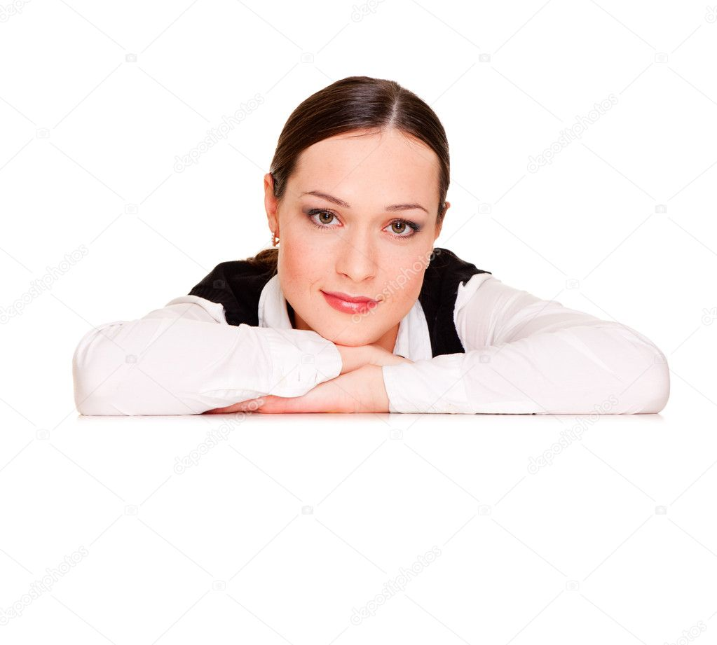 Businesswoman leaning on copyspace. isolated on white — Stock Photo #5181424