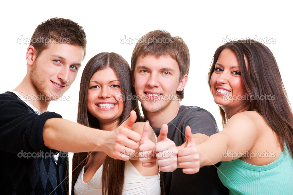 Cheerful company showing thumbs up. isolated on white background — Stock Photo #5181586