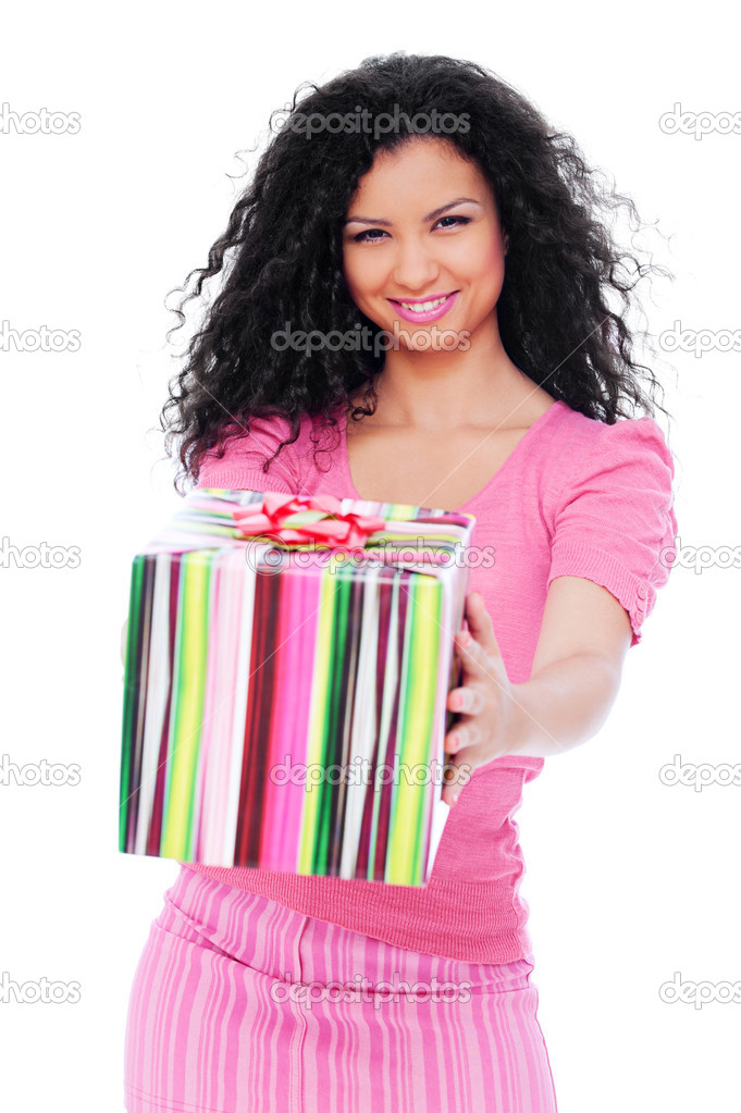 Portrait of joyful woman with gift box. isolated on white background  — Stock Photo #5181730