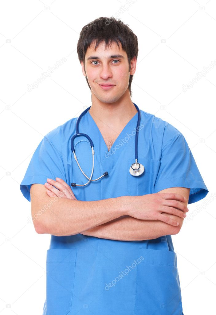 Portrait of smiley medical doctor in blue uniform. isolated on white background   Stock Photo #5182753