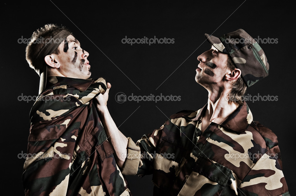 Punishment in army. studio shot over black background — Stock Photo #5183330