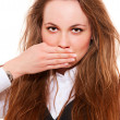 Beautiful woman covering her mouth — Stock Photo