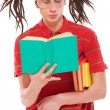 Funny guy with books — Stock Photo