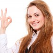 Smiey woman showing ok sign — Stock Photo