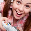 Joyous woman playing video game — Stock Photo