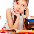 Pretty smiley girl with books - Stock Photo