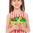Smiley girl holding basket with colorful eggs — Stock Photo #5329704