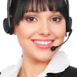 Smiley telephone operator over white — Stock Photo