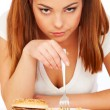 Woman with burger and potatoes — Stock Photo #5329832
