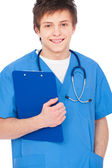Young smiley nurse boy — Stock Photo