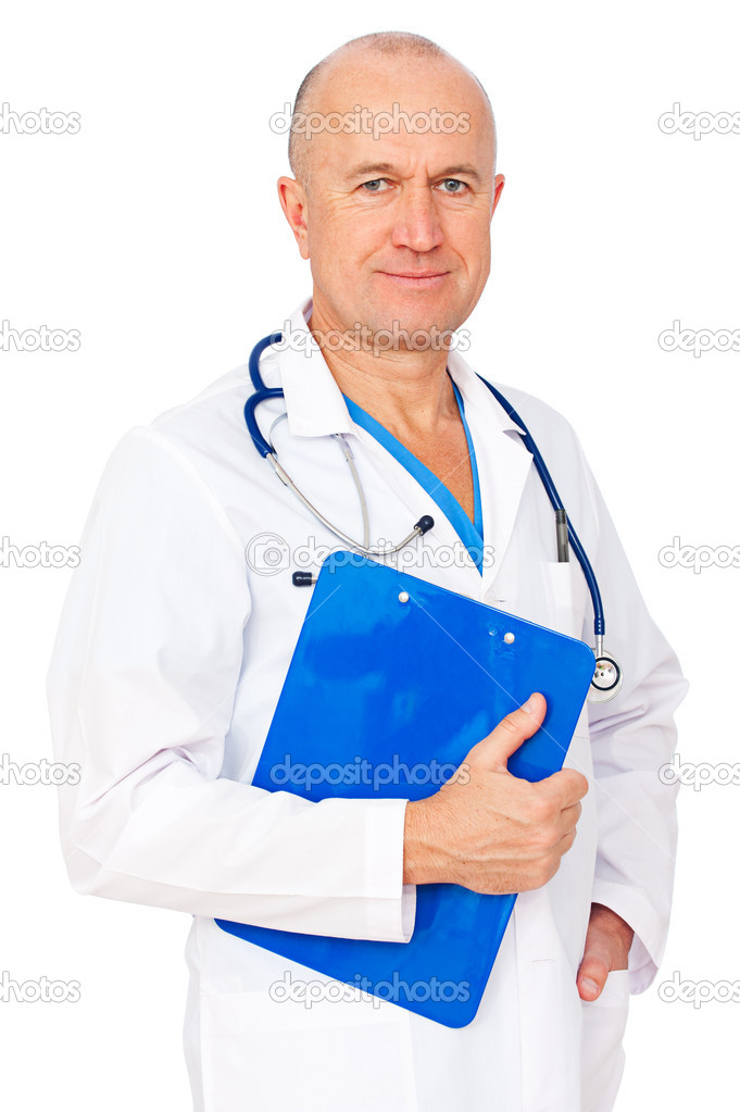 Portrait of senior doctor with report. isolated on white background   Lizenzfreies Foto #5329660