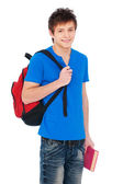 Student holding bag and book — Stock Photo