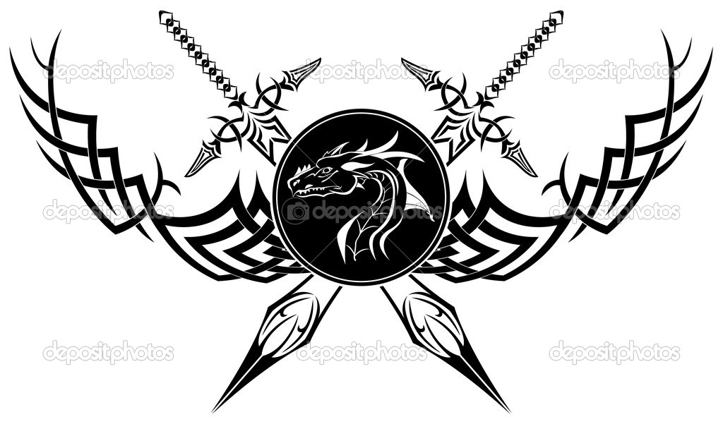 The vector image is black a white symbol in the form of swords of a dragon and patterns  — Stock Vector #4968863