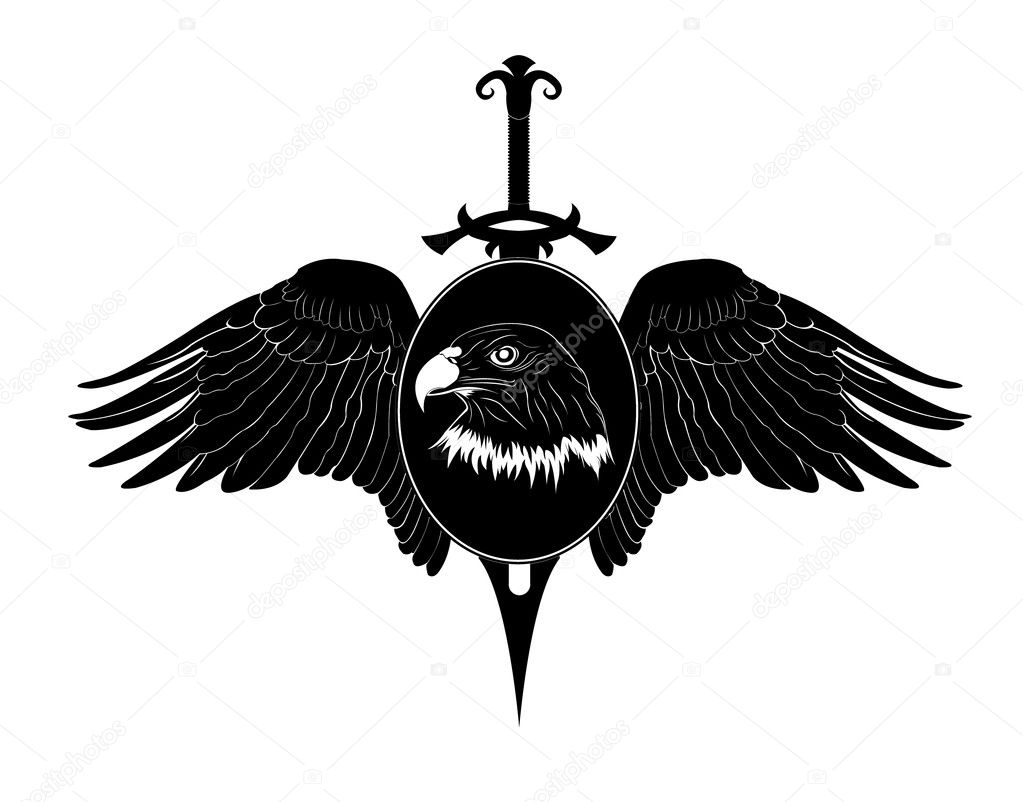 Sword With Wings Logo Sword And a Head And Wings