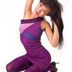 Asian girl in violet dress — Stock Photo
