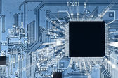 Microchip circuit with rays — Stock Photo