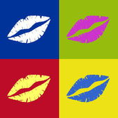 Vectored Lipstick kiss Retro — Stock Vector