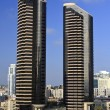 Pair of Black Skyscrapers — Stock Photo