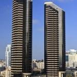 Pair of Black Skyscrapers — Stock Photo