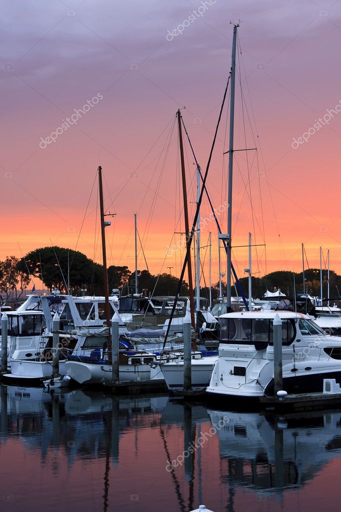 San Diego harbor and the yachts at sunset.  Zdjcie stockowe #5003373