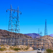 Power Transmission Towers by Highway — Stock Photo