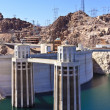 Stock Photo: Hoover Dam and Water Intake Towers