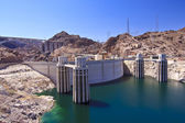 Hoover Dam and Water Intake Towers — Stock Photo
