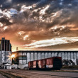 Grain Terminal at Sunrise - Stock Photo
