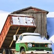 Old Farm Truck in Winter - Stock Photo