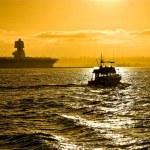 San diego botes al atardecer — Foto de Stock