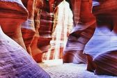 Zon balk in antelope canyon, arizona — Stockfoto