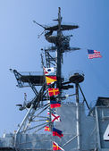 Flags on Aircraft Carrier — Stock Photo