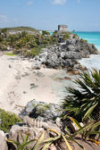 Tulum Temple down the Beach — Stock Photo